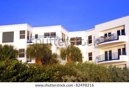 White Topical Condominium Building - stock photo