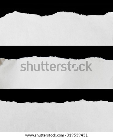 White Torn Paper Borders isolated on black background