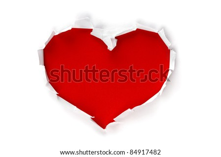 White torn paper in heart shape symbol over red background for message - stock photo