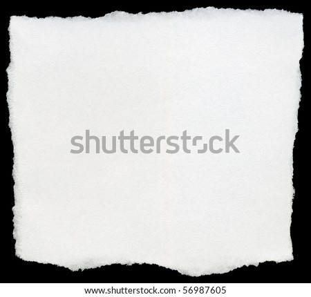White torn square of paper isolated on a black background. - stock photo