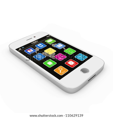 White Touchscreen Smartphone isolated on white background - stock photo