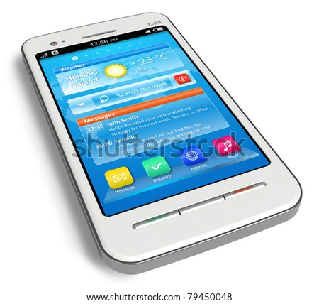 White touchscreen smartphone isolated on white background