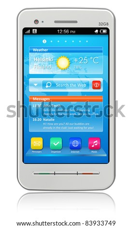 White touchscreen smartphone isolated on white reflective background - stock photo