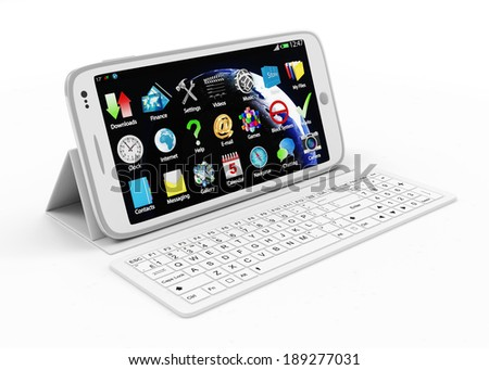 White Touchscreen Smartphone on Stand with Keyboard isolated on white background