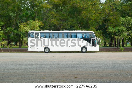 White Tour or Private Charter Bus - stock photo