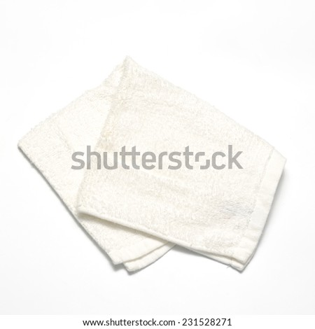 white towel on a white background - stock photo