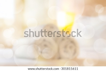 "white towel roll on bed, for concept ""hotel or welcome"". - stock photo"
