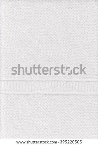 White towel texture background with ornament. Soft cotton. Macro textile.  - stock photo
