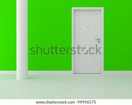 white tower on a green background - stock photo