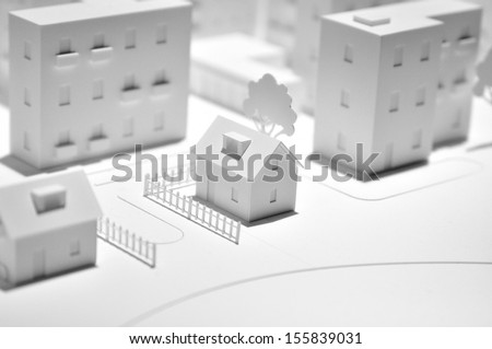 White town dummy made from paper. - stock photo