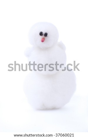 White toy snowman isolated on white - stock photo