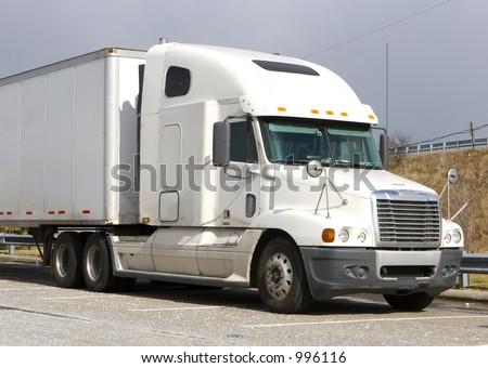 White Tractor Trailer - stock photo
