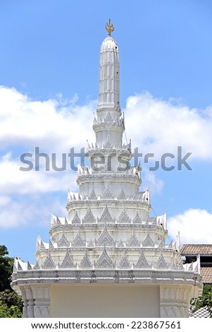 White traditional Chedi temple - stock photo