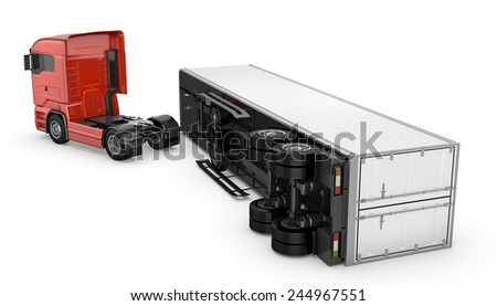 White trailed detached from a red truck, isolated on white background