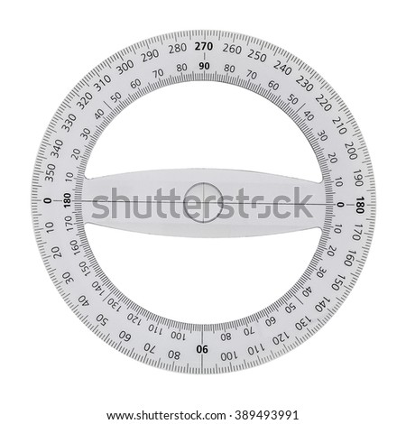 White transparent protractor, isolated on white background - stock photo