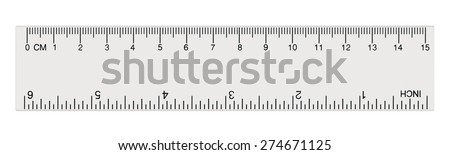 White transparent ruler, isolated inch centimetre, inches, centimeters, centimetres millimeters millimetres imperial metric millimetre distance length units cm mm macro closeup, black numbers plastics