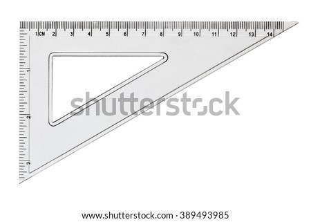 White transparent triangle, isolated on white background - stock photo