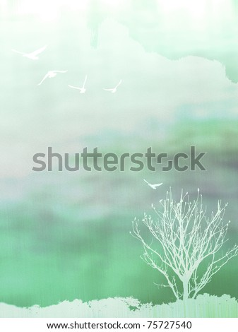 white tree and birds on green background,paper texture - stock photo