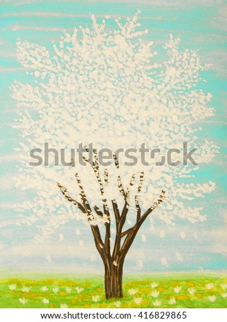 White tree in blossom on turguoise sky, painting, gouache. - stock photo