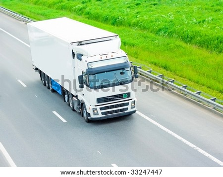 white truck - stock photo