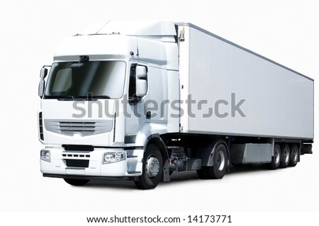 white truck and trailer - stock photo
