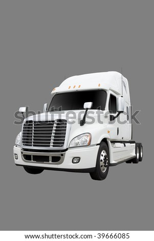 White truck isolated on gray with clipping path - stock photo