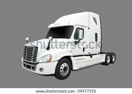 White truck isolated on grey with clipping path - stock photo