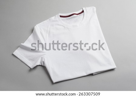 White tshirt template ready for your graphic design. - stock photo