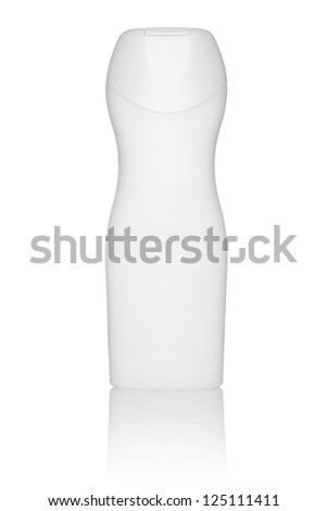 White tube bottle of shampoo, conditioner, hair rinse, gel, on a white background with reflection - stock photo