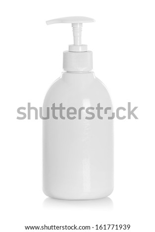 White tube bottle of shampoo, conditioner, hair rinse on a white background with reflection - stock photo