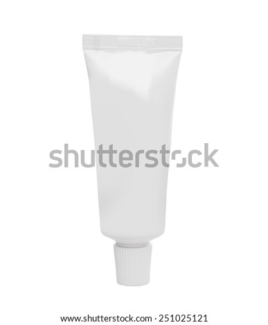 white tube of cream or toothpaste isolated on white background - stock photo