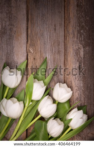 White tulips over old wood background with space for text. Retro style processing.  - stock photo