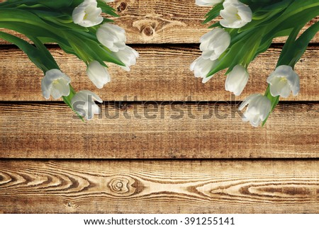 White tulips over the wooden background - stock photo