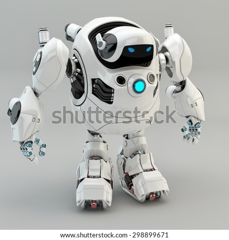 White turtle robot / Strong robotic turtle with glowing circle - stock photo