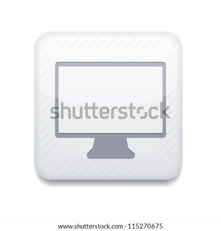 white tv icon. - stock photo