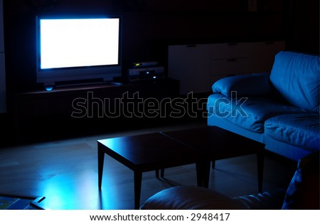White TV screen with light.
