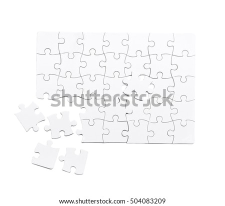 white unfinished puzzle isolated on a white background