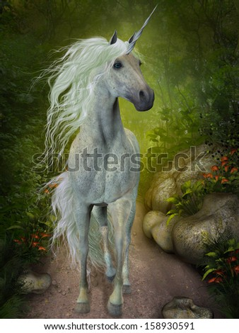 White Unicorn - A beautiful white Unicorn trots down a forest path looking for companions. - stock photo