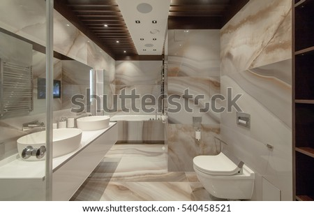 White Urinal And Washbasin Shower In Granite Bathroom Modern House Interior Luxury