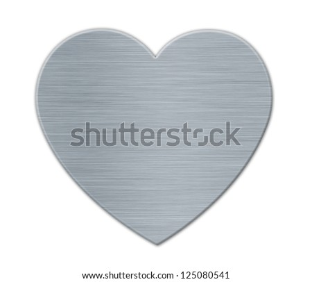 White Valentines's Day Heart in the Metal Textured Surface - stock photo