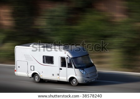 white van on highway - stock photo