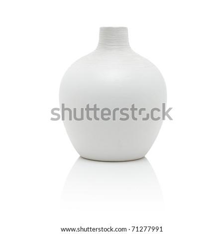 White vase, isolated on white - stock photo