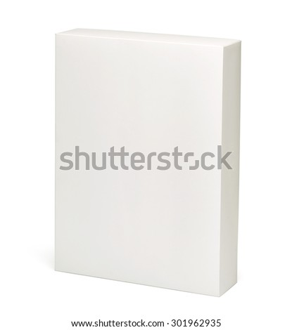 White vertical blank box isolated on white background including clipping path - stock photo