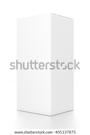 White vertical rectangle blank box from side angle. 3D illustration isolated on white background.