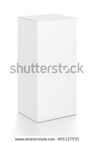 White vertical rectangle blank box from top front side angle. 3D illustration isolated on white background. - stock photo