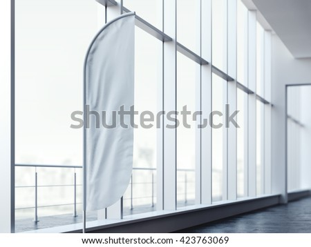 White vertical wind banner in office interior. 3d rendering - stock photo