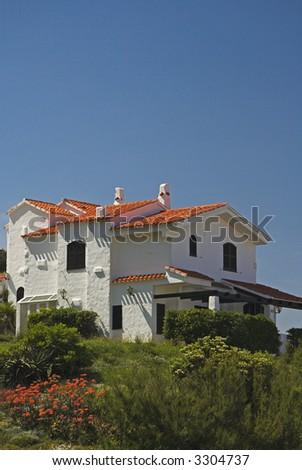 White villa in the mediterranean coast - stock photo