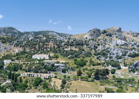 White village Grazalema in Andalucia - stock photo