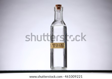 white vinegar on the white background