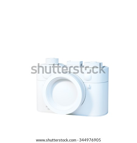 White vintage camera icon isolated on white background. 3d render